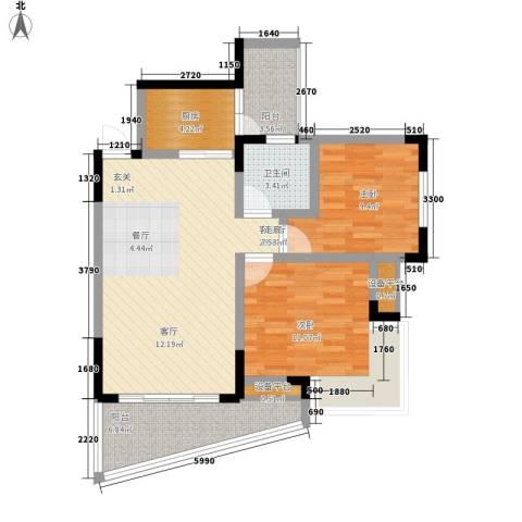 蔚蓝时光2室1厅1卫1厨96.00㎡户型图