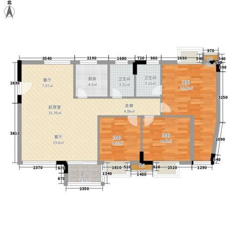 滨江绿园3室0厅2卫1厨87.00㎡户型图