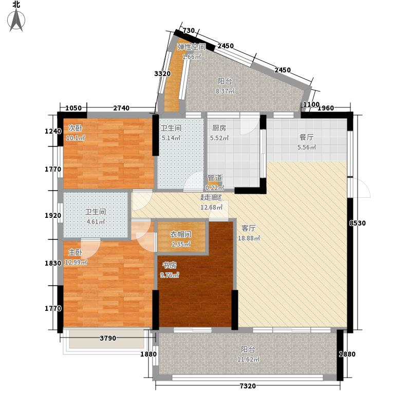 置信丽都花园城128.00㎡电梯组团F户型3室2厅2卫1厨
