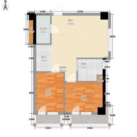 金州福佳新天地广场2室0厅1卫1厨76.00㎡户型图