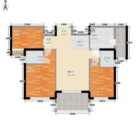 金色港湾五期3室1厅2卫1厨117.00㎡户型图