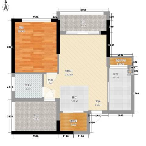 金色港湾五期1室1厅1卫1厨73.00㎡户型图