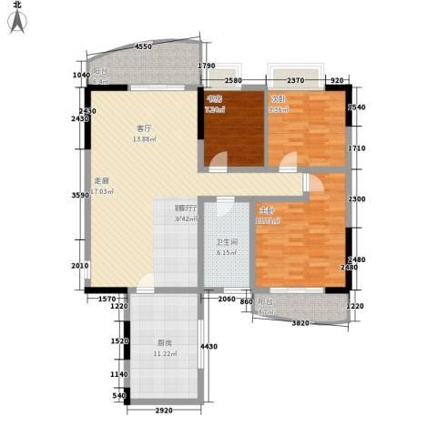 三十所宿舍3室1厅1卫1厨108.00㎡户型图