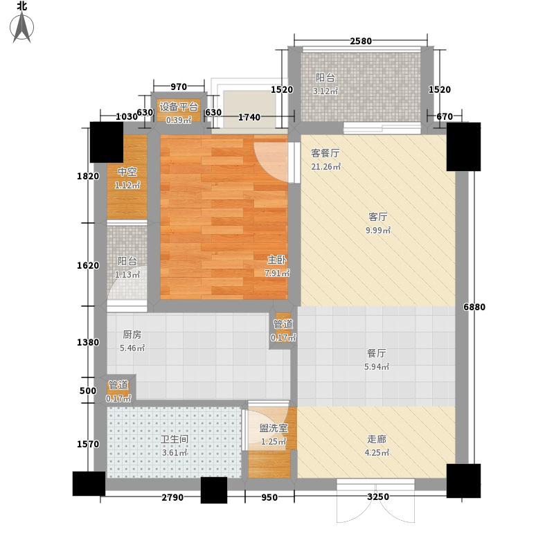 东方锦都59.74㎡东方锦都户型图D2型1室2厅1卫1厨户型1室2厅1卫1厨