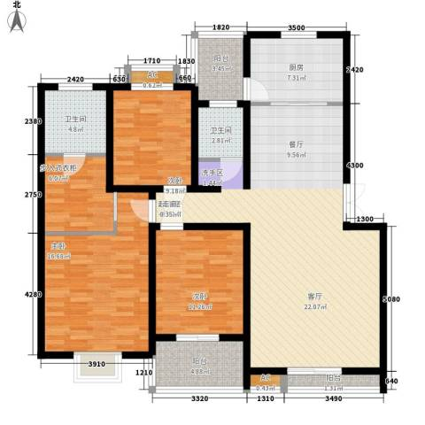 汇城上筑3室0厅2卫1厨127.47㎡户型图