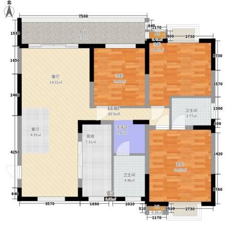 景江雅苑3室0厅2卫1厨147.00㎡户型图