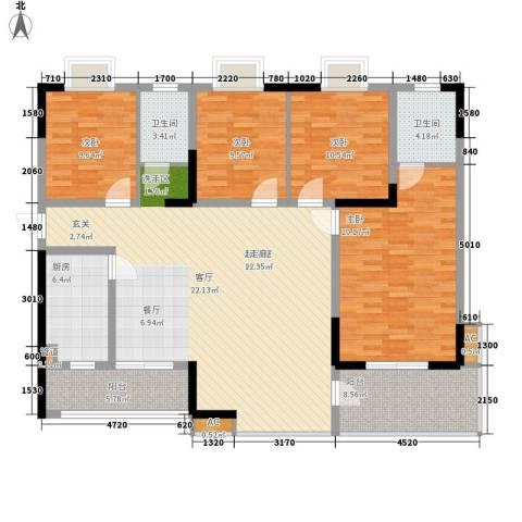 华银天际二期4室0厅2卫1厨157.00㎡户型图