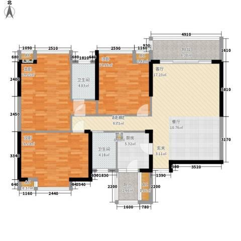 金蕾苑3室0厅2卫1厨127.79㎡户型图