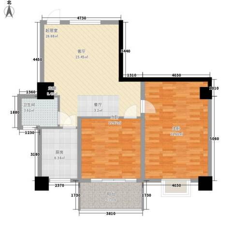 汇富广场2室0厅1卫1厨87.00㎡户型图