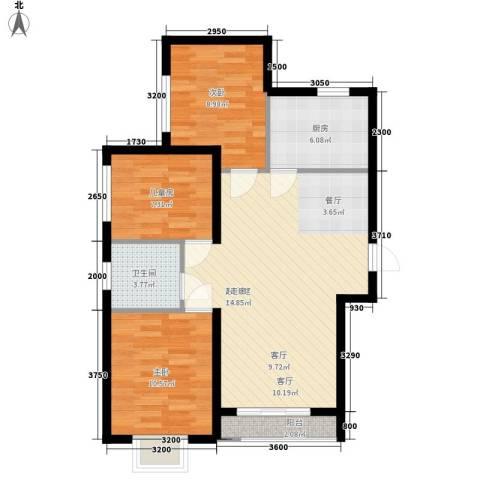 水岸荣华3室0厅1卫1厨95.00㎡户型图