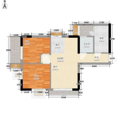 环宇花园2室0厅1卫1厨60.00㎡户型图