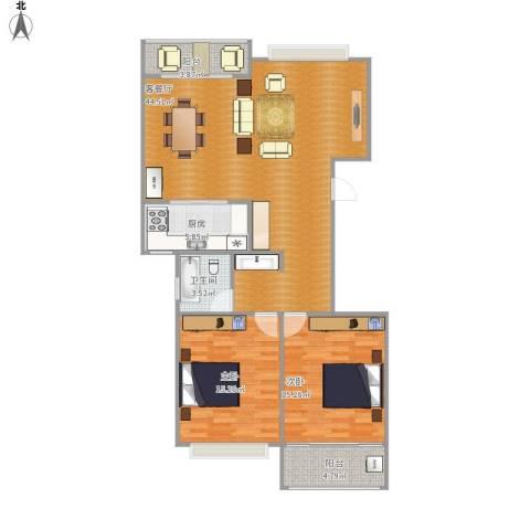 舜奥华府2室1厅1卫1厨124.00㎡户型图