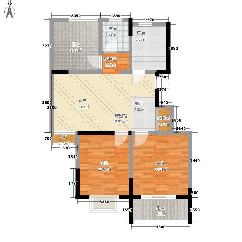 明瑞花园85.27㎡明瑞花园户型图一期1号楼N户型2室2厅1卫户型2室2厅1卫