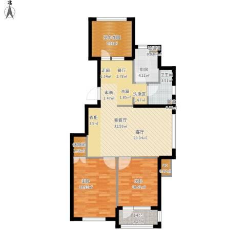 金色玺园2室1厅1卫1厨111.00㎡户型图