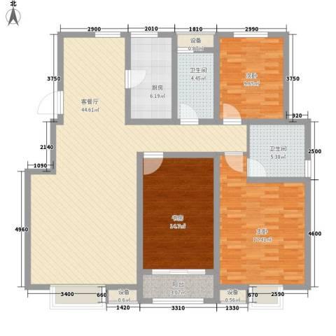 首创康桥郡3室1厅2卫1厨154.00㎡户型图