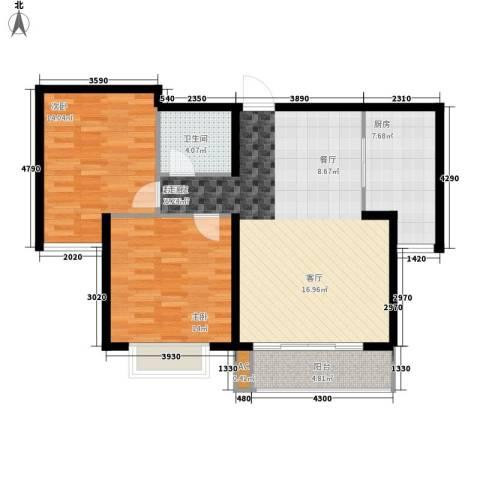 万锦花语岸2室0厅1卫1厨86.00㎡户型图