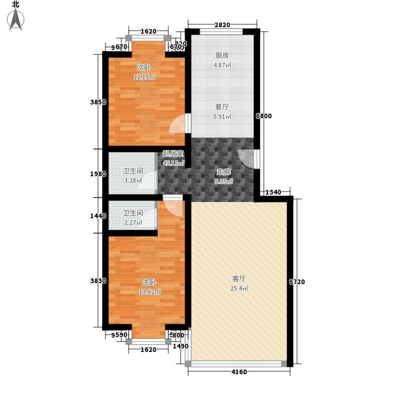 三汇沁园8.10㎡17号楼D户型2室2厅2卫1厨