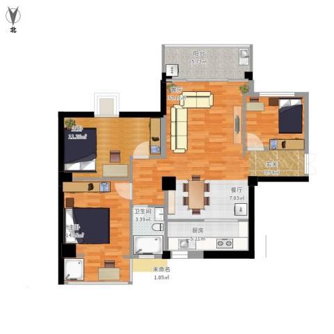 鸿源尚品2室1厅1卫1厨108.00㎡户型图
