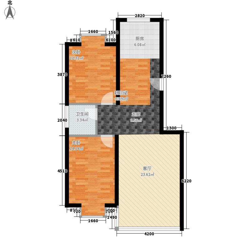 三汇沁园111.14㎡5、11、12、14、16、18、20、22号楼I户型2室2厅1卫1厨