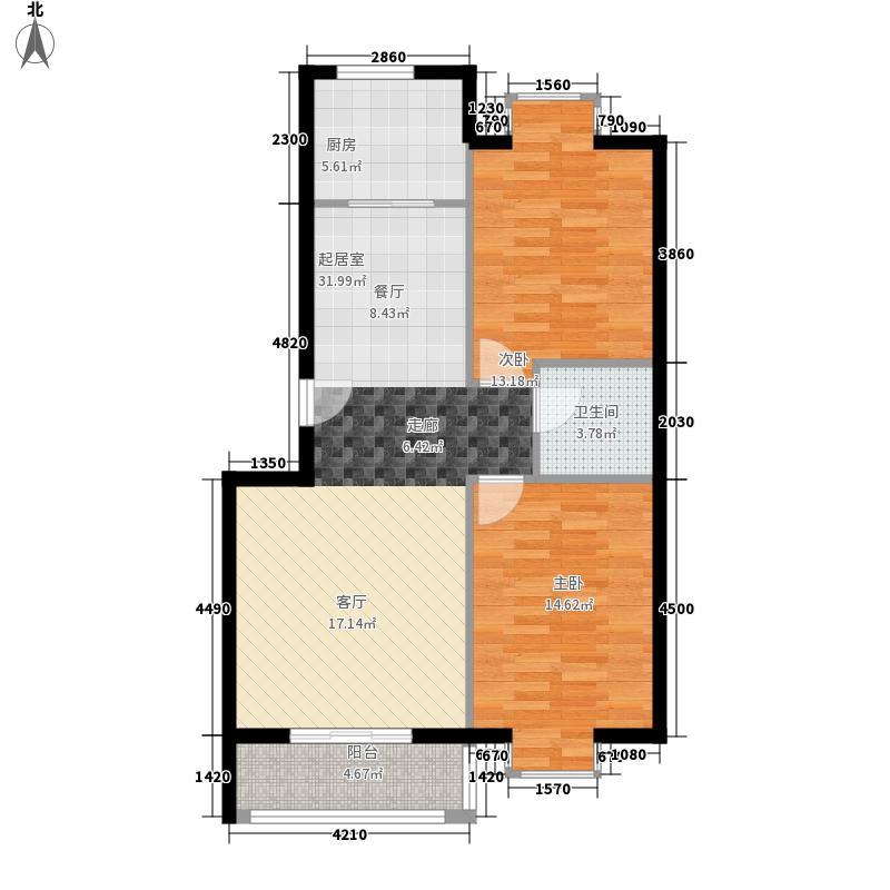 三汇沁园3、15号楼C2户型2室2厅1卫1厨