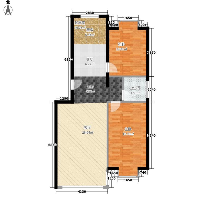 三汇沁园11.27㎡2、21号楼B户型2室2厅1卫1厨