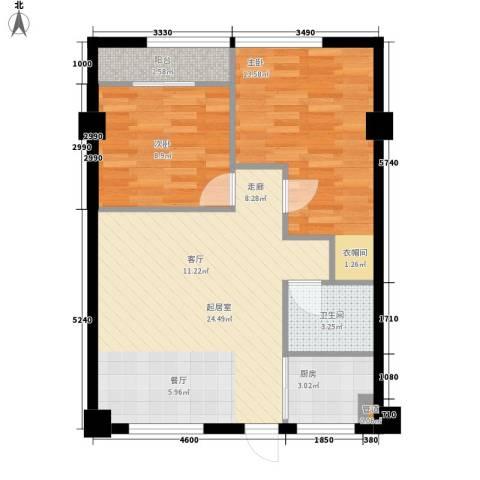 苹果假日2室0厅1卫1厨63.00㎡户型图