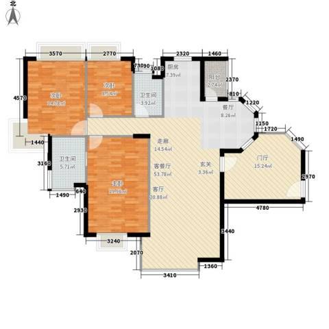世纪城国际公馆一期3室1厅2卫0厨153.00㎡户型图