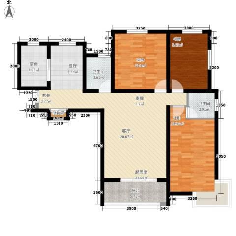 长安信合小区3室0厅2卫1厨134.00㎡户型图