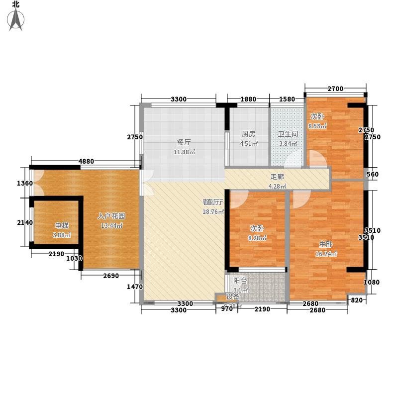 大世纪花园三期户型图2单元偶数层04# 3室2厅1卫1厨