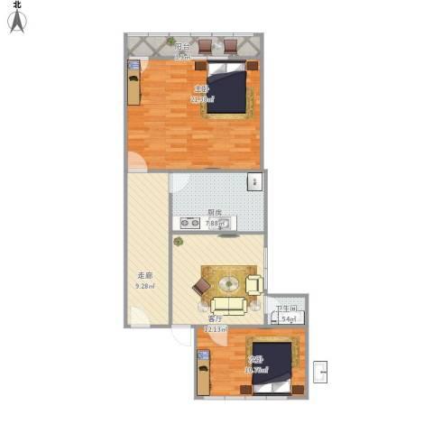 乐山小区2室1厅1卫1厨90.00㎡户型图