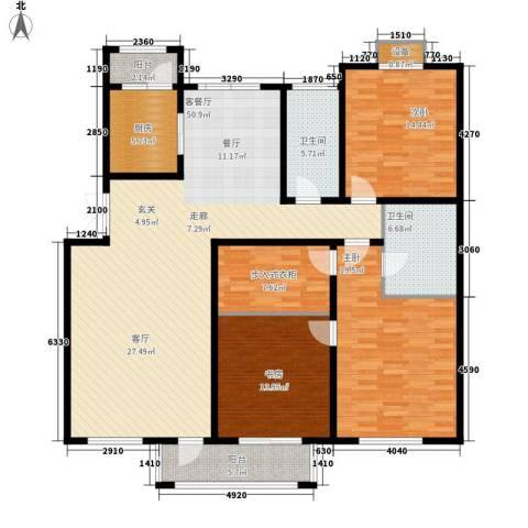 绿地英湖印象3室1厅2卫1厨148.00㎡户型图
