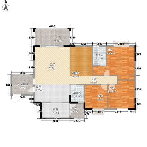 博美雅居3室1厅2卫1厨129.00㎡户型图