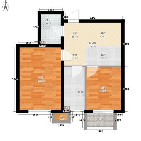 瑞宏佳园2室0厅1卫1厨65.00㎡户型图