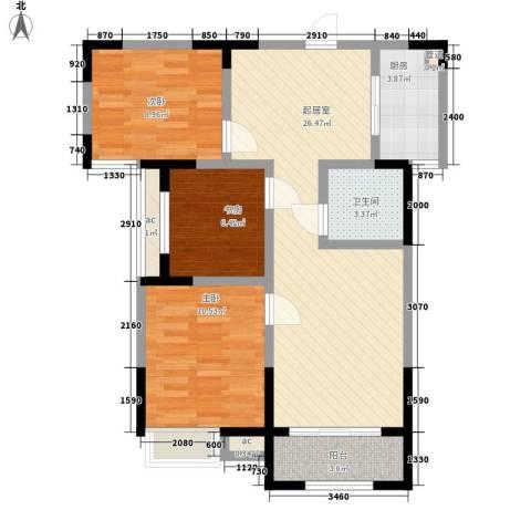 绿都温莎城堡3室0厅1卫1厨64.66㎡户型图