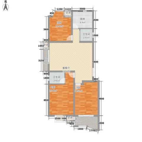名佳嘉园3室1厅2卫1厨110.00㎡户型图