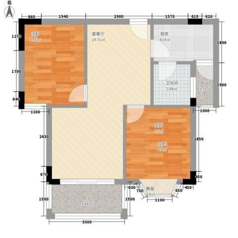 金碧阁2室1厅1卫1厨73.00㎡户型图