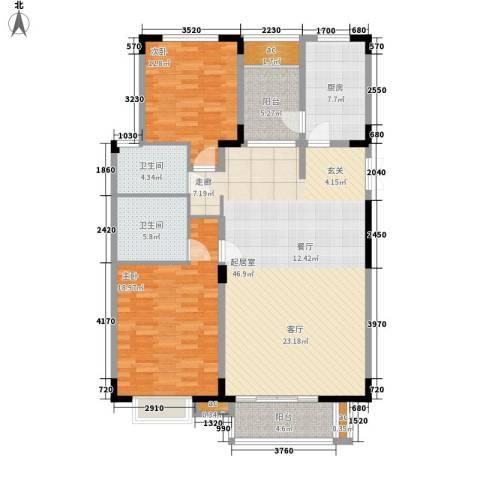 金桥湾清水苑2室0厅2卫1厨124.00㎡户型图