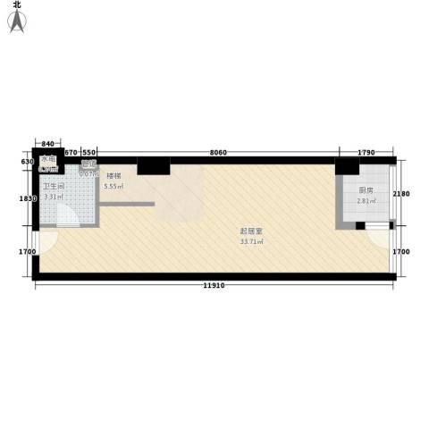 慧晶国际公寓1卫1厨58.00㎡户型图