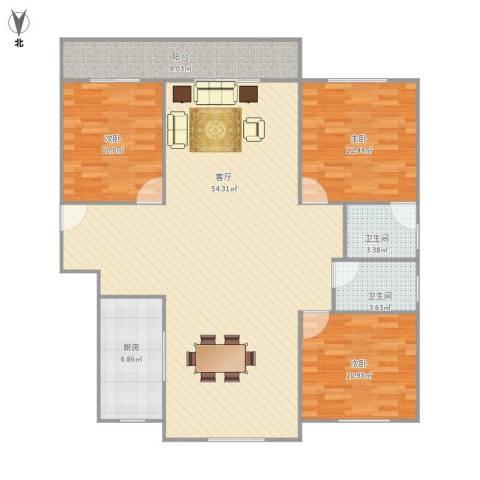 梅陇世纪苑3室1厅2卫1厨146.00㎡户型图