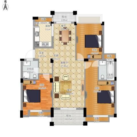 万里阳光水岸3室1厅2卫1厨153.00㎡户型图