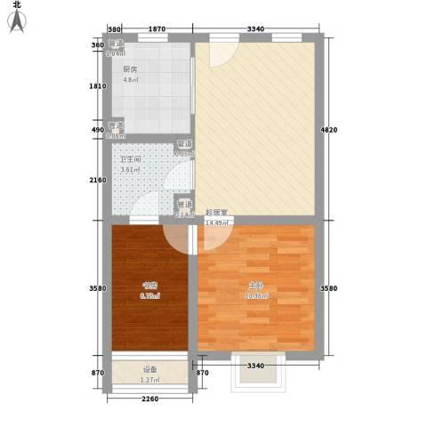 慧晶国际公寓2室0厅1卫1厨61.00㎡户型图