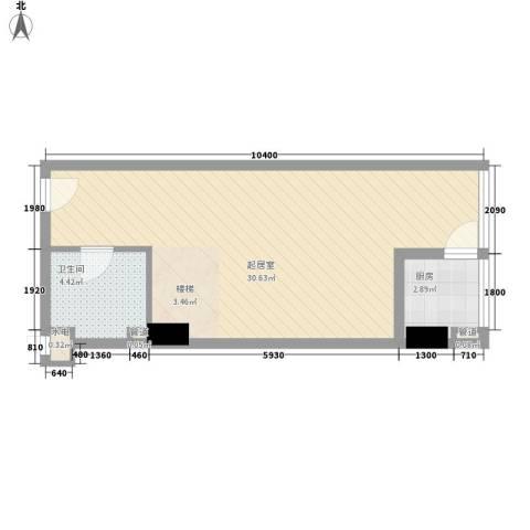 慧晶国际公寓1卫1厨55.00㎡户型图