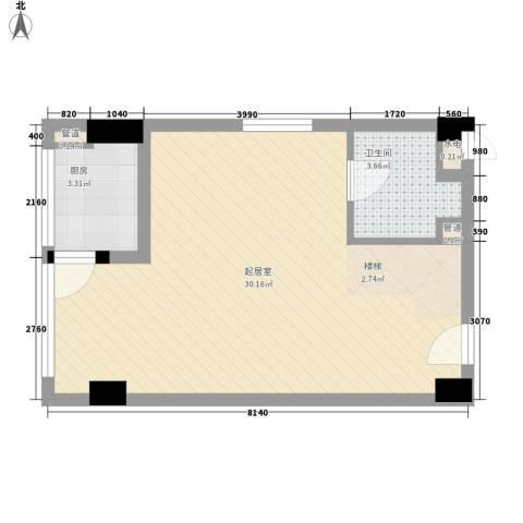 慧晶国际公寓1卫1厨54.00㎡户型图