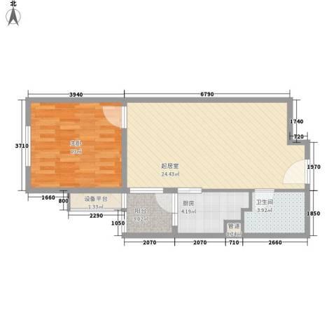 红星MOMA新程1室0厅1卫1厨57.00㎡户型图