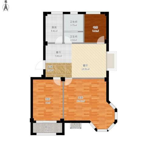 逸城山色3室1厅2卫1厨117.00㎡户型图