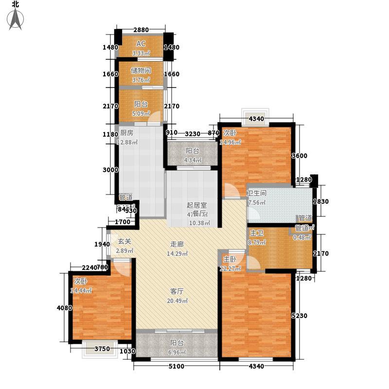 世茂外滩新城174.20㎡一期3号楼标准层F户型3室2厅2卫1厨