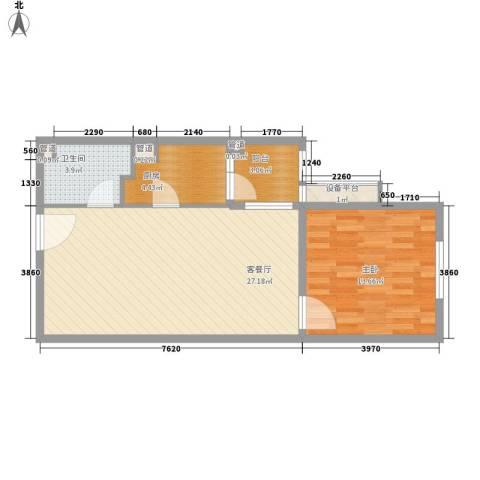 红星MOMA新程1室1厅1卫1厨59.00㎡户型图