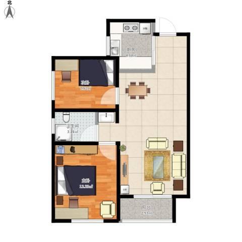 月珑湾2室1厅1卫1厨80.00㎡户型图