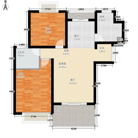 大华阳城五期阳城书院2室0厅1卫1厨94.00㎡户型图