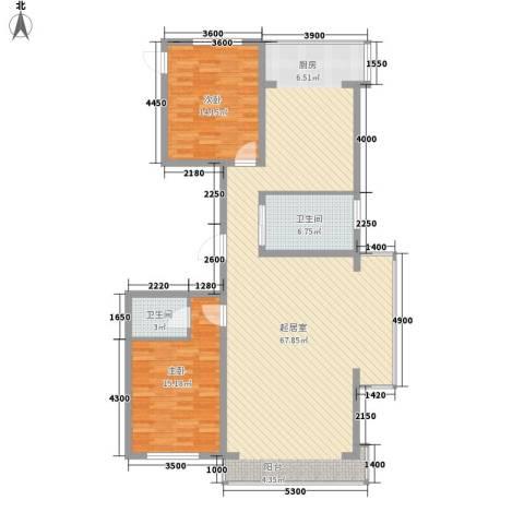 翔达・江湾御景2室0厅2卫0厨158.00㎡户型图